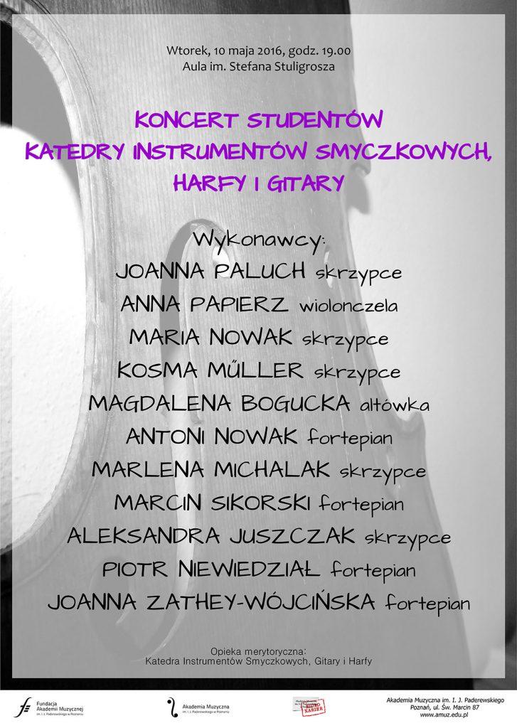 10.05.2016 koncert katedry instr. smyczkowych