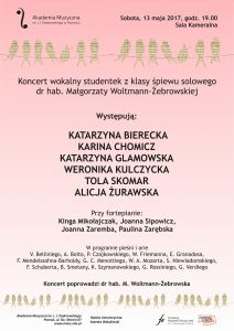 13.05.2017 koncert klasowy M. Woltmann-Żebrowska