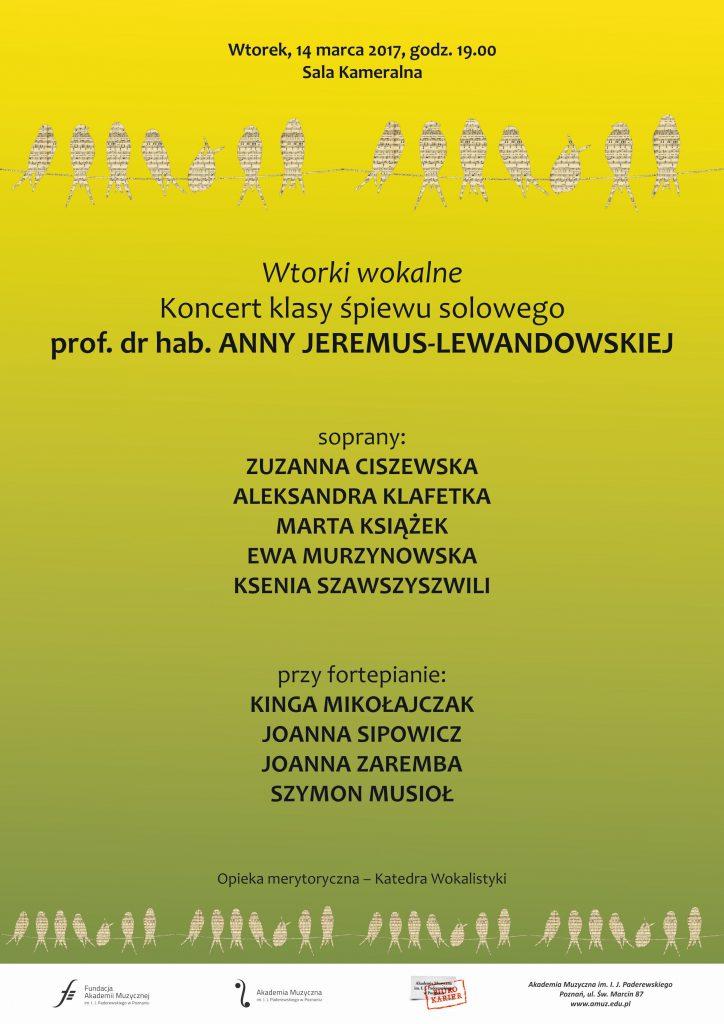 14.03.2017 koncert klas śpiewu