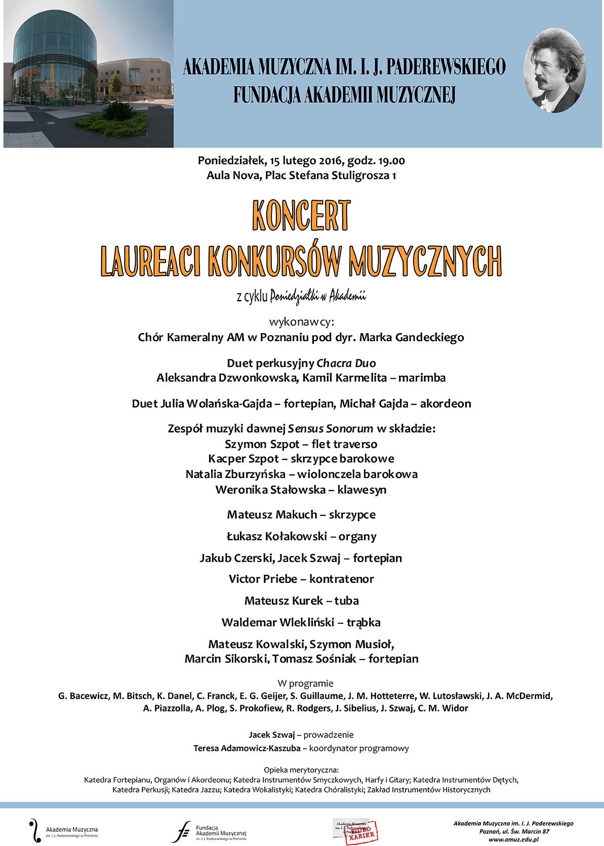 15.02.2016 koncert laureatów (prof. Kaszuba)