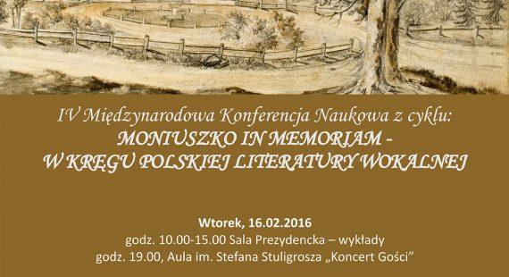"""IV Międzynarodowa Konferencja """"Stanisław Moniuszko in memoriam"""""""