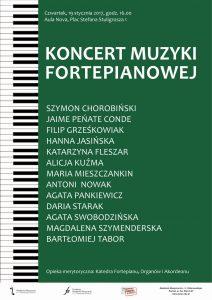 19.01.2017 godz. 16.00 koncert muzyki fortepianowej
