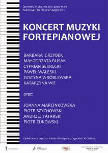 19.01.2017 godz. 19.00 koncert muzyki fortepianowej