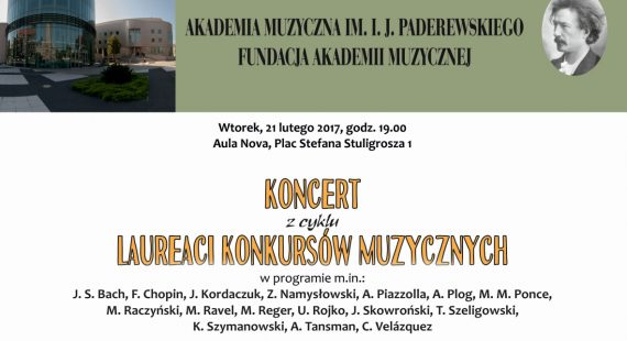 Afisz 21.02.2017 koncert laureatów (prof. Kaszuba)