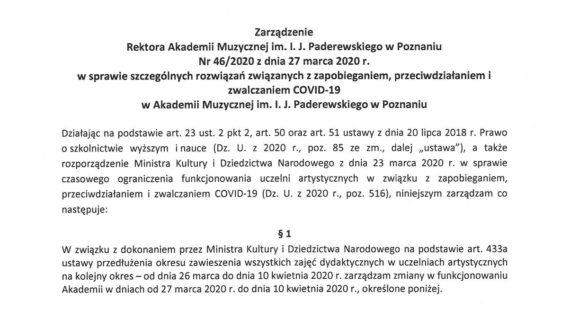 Zarządzenie dotyczące zawieszenia zajęć wdniach 27 marca do10 kwietnia izamknięcia budynków Akademii wdniach od27 marca do13 kwietnia