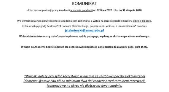 Komunikat dotyczący organizacji pracy Akademii wokresie pandemii od2 lipca 2020 roku do31 sierpnia 2020
