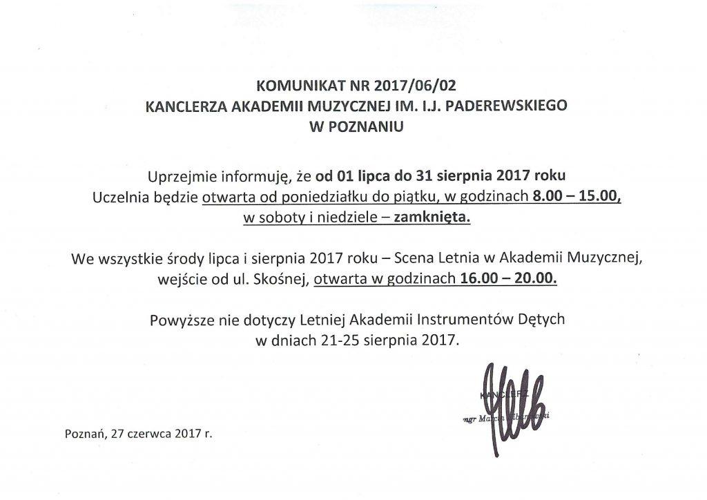 KOMUNIKAT KANCLERZA NR2017_06_02, zdn.27.06.2017 r