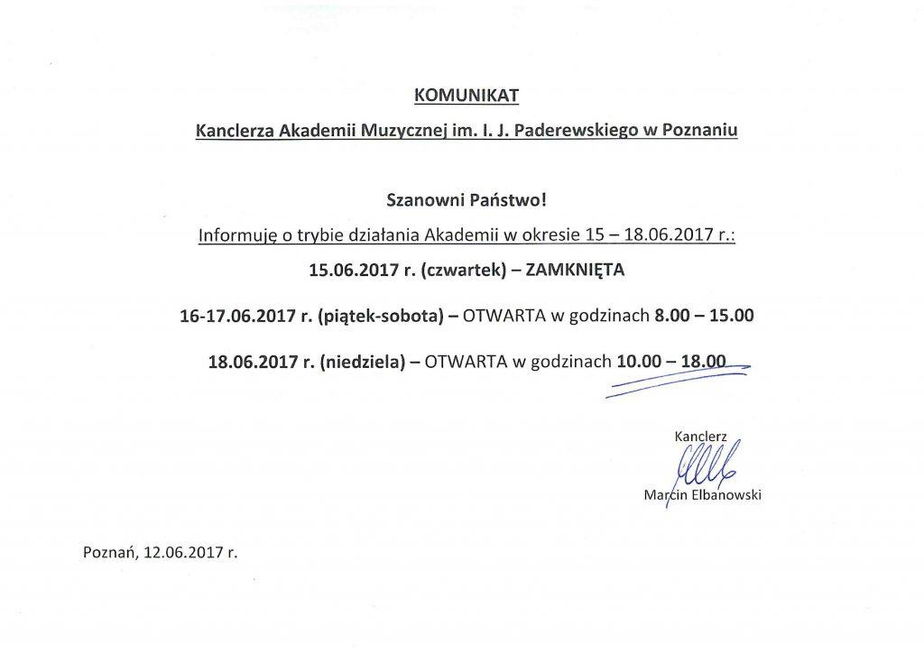 KOMUNIKAT KANCLERZA zdnia 12.06.2017