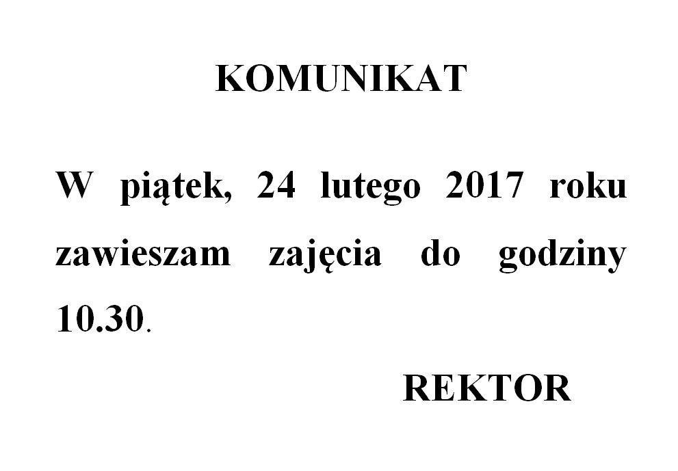 Połowinki - godziny rektorskie 24 lutego