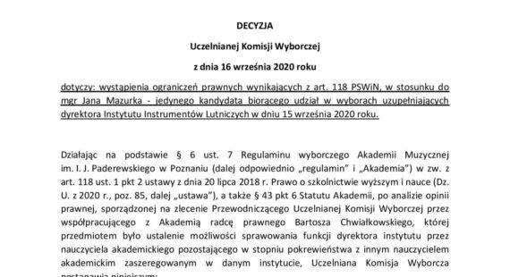 Uchwała Uczelnianej komisji Wyborczej wsprawie wyborów dyrektora Instytutu Instrumentów Lutniczych zdnia 16.09.2020