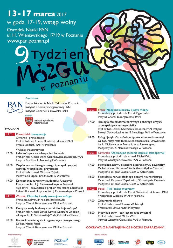 Zaproszenie na9. Tydzien Mózgu wPoznaniu 13-17.03.2017