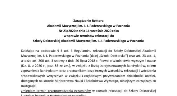 Zarządzenie Rektora wsprawie terminów rekrutacji doszkoły doktorskiej