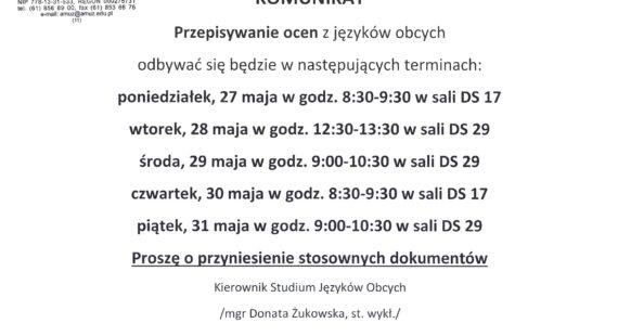 Komunikat dotyczący przepisywania ocen zjęzyków obcych – terminy