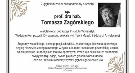 Żegnamy prof.dra hab. Tomasza Zagórskiego