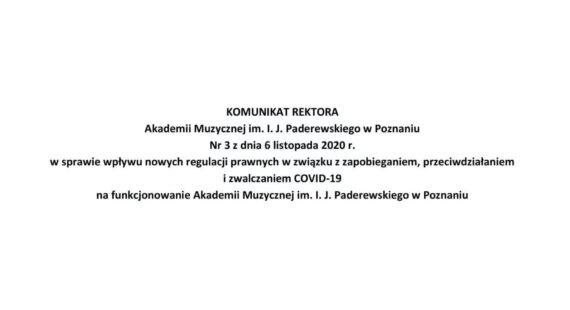 Komunikat Rektora wsprawie wpływu nowych regulacji prawnych wzwiązku zzapobieganiem, przeciwdziałaniem izwalczaniem COVID-19 nafunkcjonowanie Uczelni