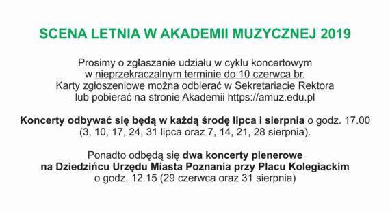 Zaproszenie doudziału wScenie Letniej wAkademii Muzycznej 2019