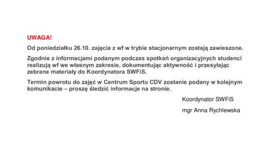 Komunikat Koordynatora SWFiS dot. zajęć zwf